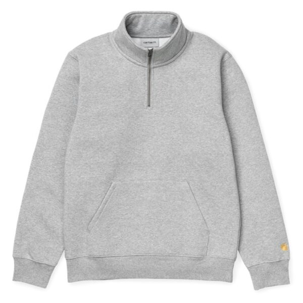 CARHARTT WIP CHASE NECK ZIP SWEAT GREY HEATHER/GOL
