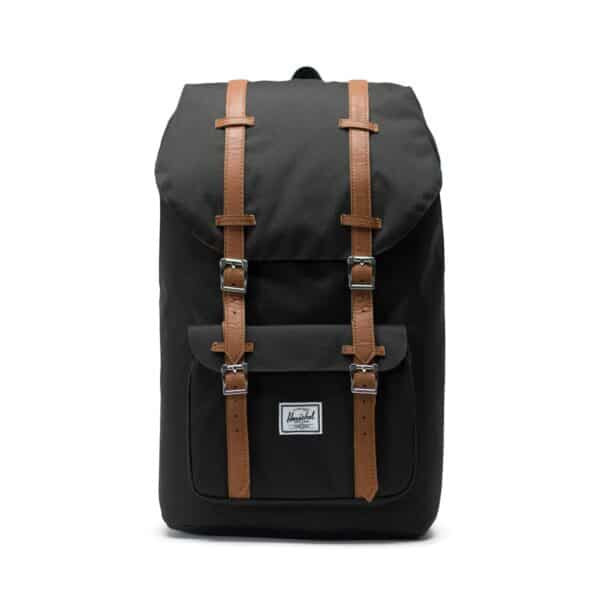 HERSCHEL LITTLE AMERICA BLACK/TAN SYNTHETIC LEATHE